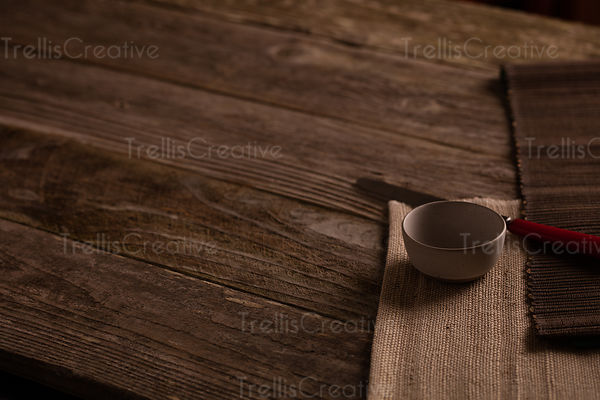 Ceramic bowl on rustic wooded table