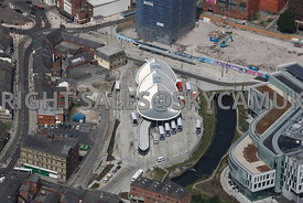 Rochdale aerial photograph of the regeneration and redevelopment of a new public transport Interchange for Buses and the Metr...