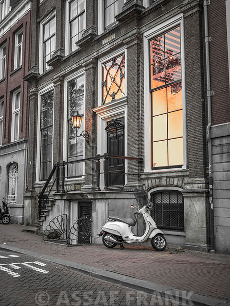 Scooter parked outside a building, Amsterdam