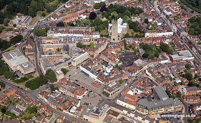 aerial photograph of Warwick Warwickshire, England UK