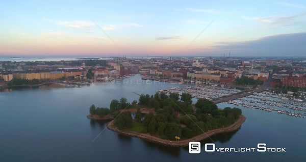 Sunrise City, Aerial View Over Tervasaari Island and Towards the Cityscape and the Cathedral of Helsinki, on a Sunny Summer M...