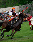 horseman competing in mediaeval jousting tournament in Narni Umbria Italy