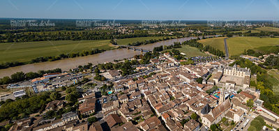Aerial view, France, the renaissance castle, Cadillac in Gironde