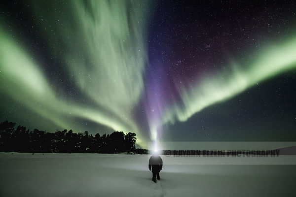 Self portrait under strong aurora