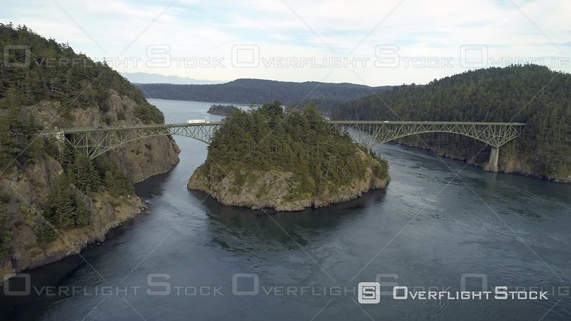 Classic filming of famous Pacific Northwest big bridge. Deception Pass Washington USA