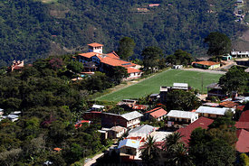 View of Hotel Gloria and football pitch , Coroico , Bolivia