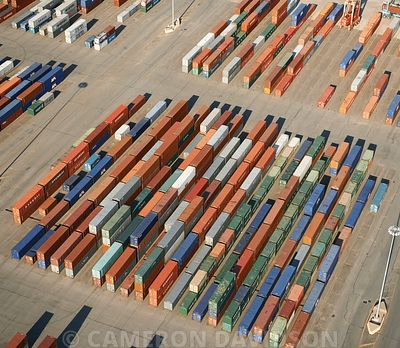 Aerial photograph of international shipping containers in port