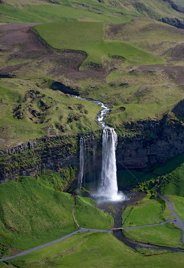 Aerial view of Seljalandsfoss waterfall, Iceland, June 2014.