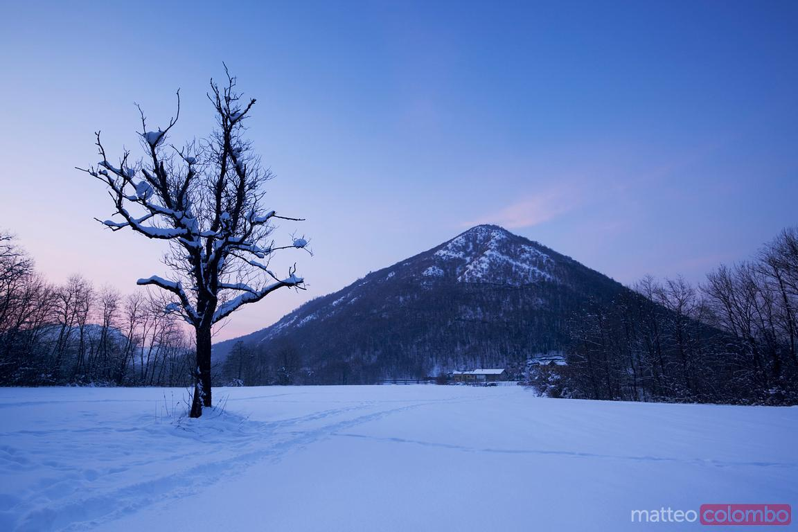Mondonico mountain in winter, Valganna, Italy