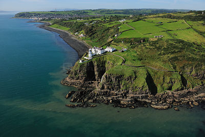 Aerial view of Whitehead Lighthouse, County Antrim, Northern Ireland, UK, September 2009