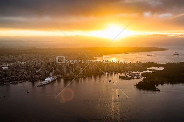 Sunset Over Downtown Vancouver and English Bay BC Canada