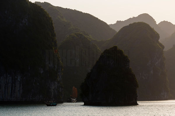 Fishing Boat and Junk in Halong Bay