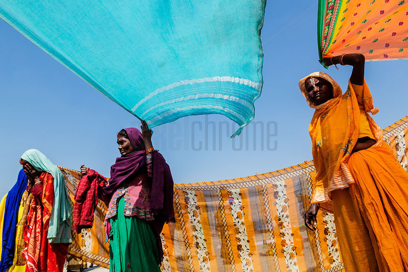 Women Drying Saris