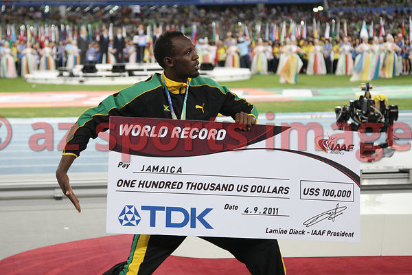 The Jamaican 4x100m team set a new world record of 37.04 at the IAAF World Championships.Usain Bolt celebrates their victory ...