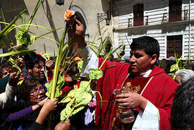 Priest blessing ornaments made out of palm leaves outside La Merced church after mass on Palm Sunday, La Paz, Bolivia
