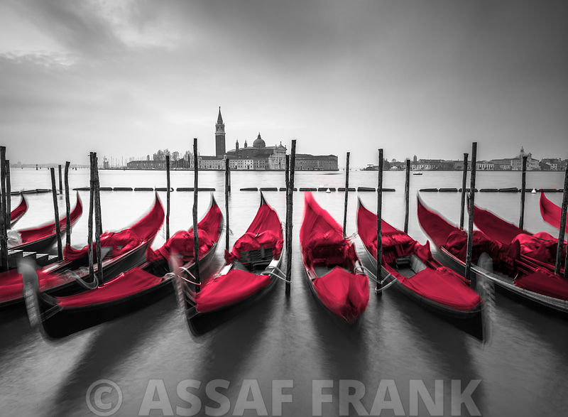 Gondolas moored along the canal, Venice, Italy