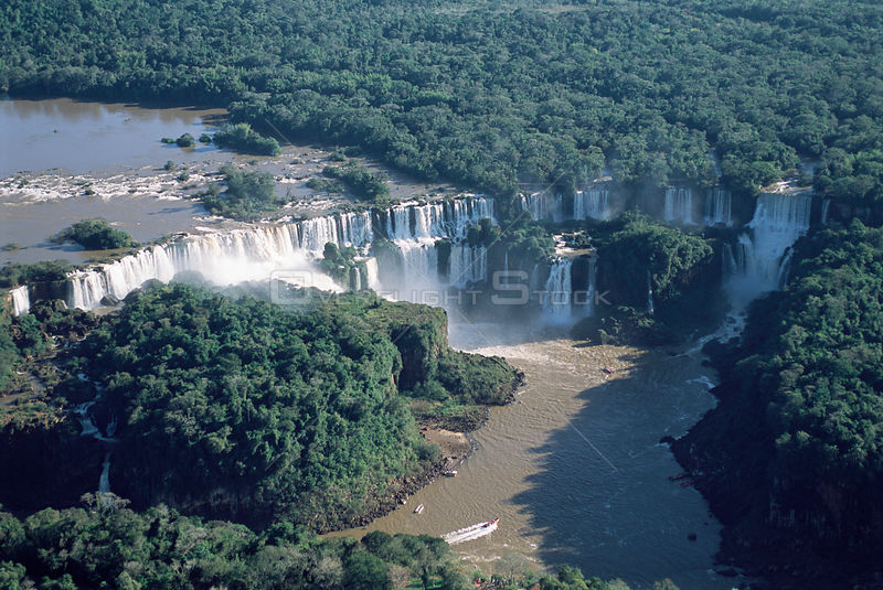 Aerial view of Iguazu river & tropical rainforest, Argentina / Brazil