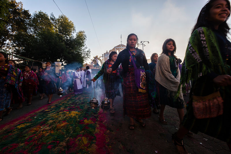 Women in Traditional Dress in Semana Santa Procession