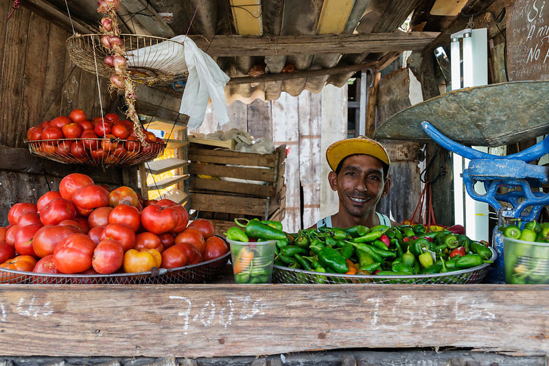 Market Vendor Selling Vegetables at his Stall