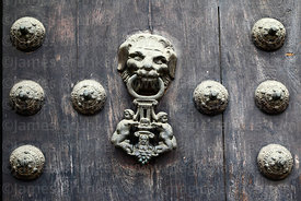 Detail of door knocker of cathedral main entrance, Lima, Peru