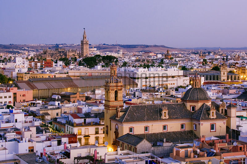 Cityscape of Seville at Dawn Andalucia Spain