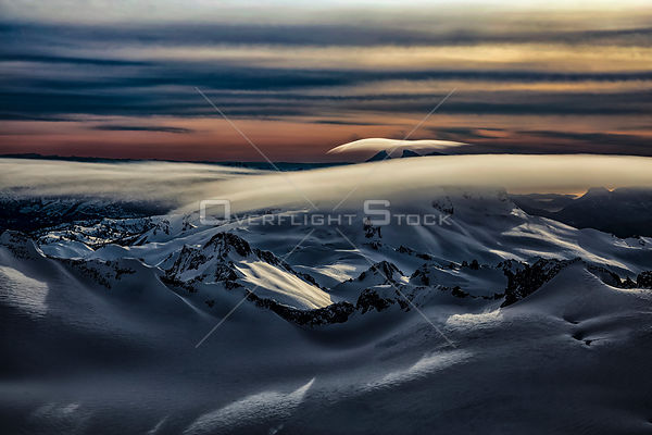 Lenticular Clouds over Garibaldi Mountains in Winter BC Canada