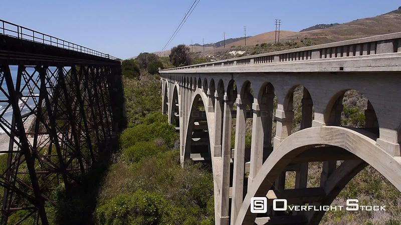 Old Highway and Railroad Bridge on the California Coast