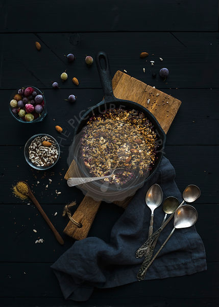 Fresh granola in a pan
