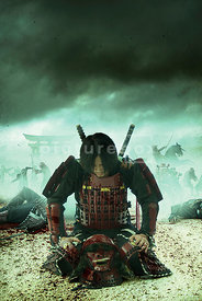 An atmospheric image of a kneeling Samurai Warrior with a battle raging on.