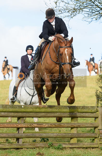 Louisa Fear jumping a hunt jump at Burrough House - The Cottesmore at Somerby 5/11
