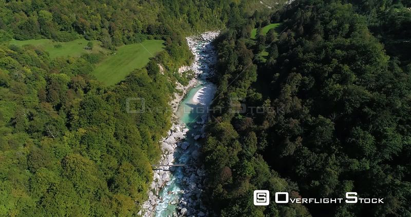 Mountain rapids, C4K aerial tilt drone view of a turquoise soca river, revealing the nature, near Trigolov national park, on ...