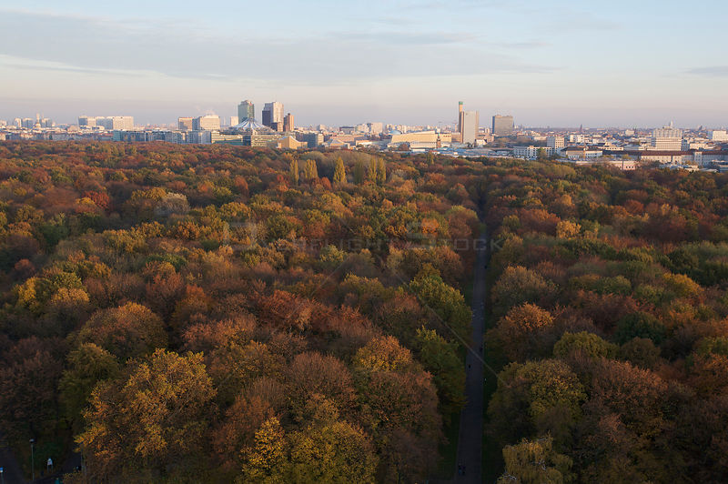 Aerial view from Siegessaeule of the Tiergarten Park and city centre, Berlin, Germany. November 2009