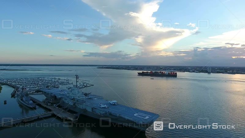 4k Cinematic Epic Aerial of Cargo Ships in Charleston SC Harbor