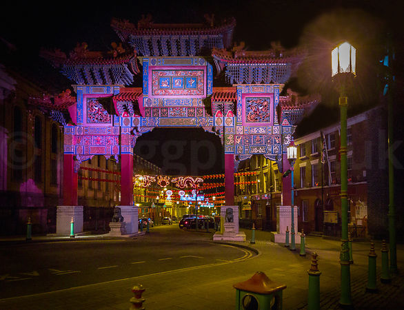 The Ceremonial Chinese Arch at Night, Liverpool (UK)