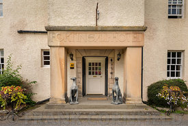 FORTINGALL, SCOTLAND - AUGUST 27, 2018: entrance to the Fortingall Hotel in the village of Fortingall in highland Perthshire,...
