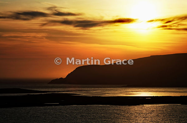 Stunning Sumburgh Head sunset, looking west over Scat Ness to Fitful Head, Mainland South, Shetland