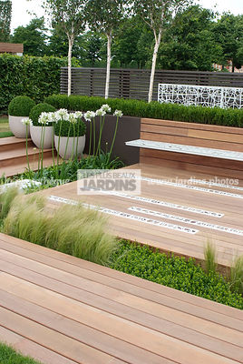 Contemporary garden, Contemporary Terrace, Wooden Terrace, Digital, Formal garden, Scenery