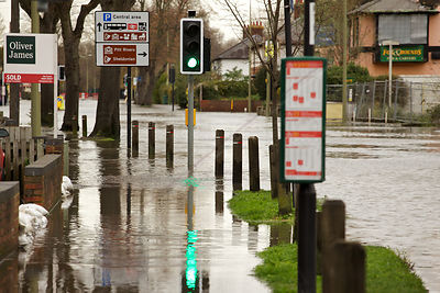 Flooded Pavement and Road in Oxford