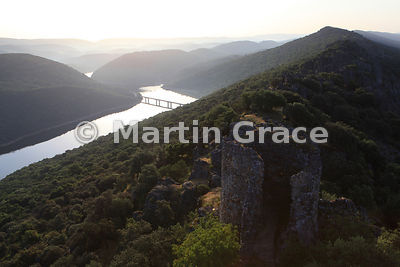 Rio Tajo (River Tagus) shortly after sunrise, looking NNE from Monfrague Castle, Extremadura, Spain
