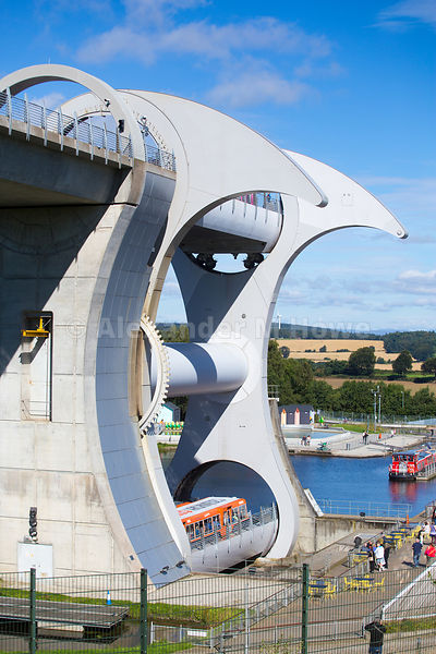 Pleasure boat about to start it's upward journey on The Falkirk Wheel