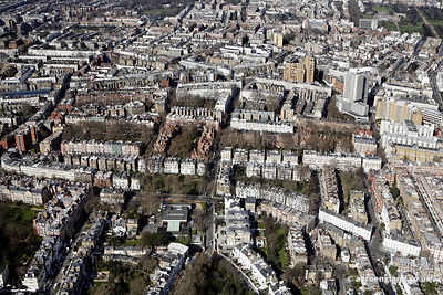 aerial photograph of Kensingtonl London   England UK. In the image can be seen Collingham Gardens, London SW5 0HW,Bramham Gar...