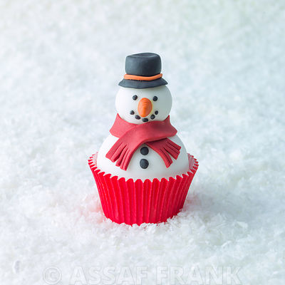 Christmas Snowman cupcake on snow