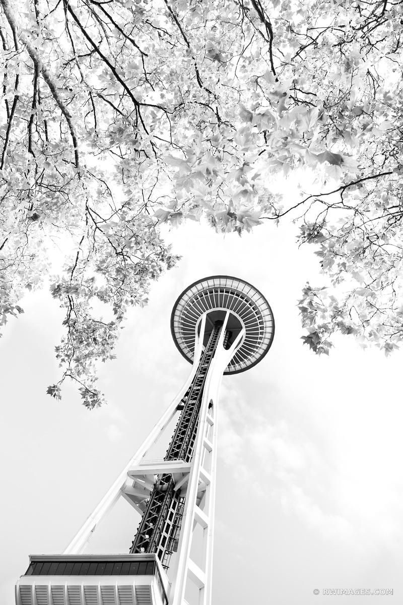 SPACE NEEDLE SEATTLE BLACK AND WHITE VERTICAL