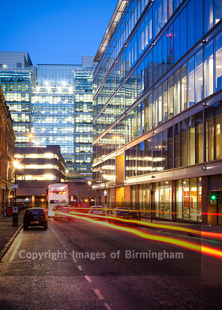 Rush hour in the Business District of Birmingham, West Midlands, England, UK. The Colmore Business District (CBD). Interchang...