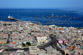 View over the town and port of Ilo, Peru