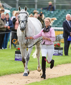 Ashley Edmond and TRIPLE CHANCE II at the trot up, Land Rover Burghley Horse Trials 2018