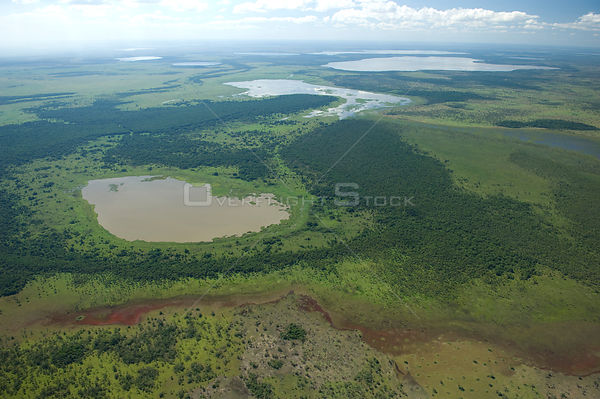 Aerial view of lakes, during the flood season, in the region of the great lakes of the Northern Beni Department of Northeaste...