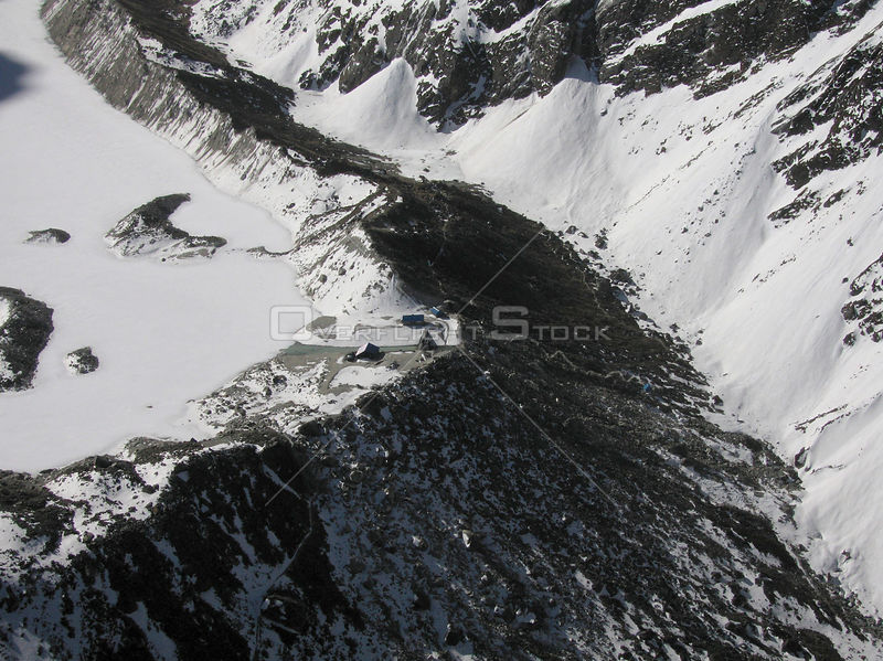 NEPAL Trakarding Glacier (Lake Tsho Rolpa) -- 16 Apr 2005 -- An aerial view of Tsho Rolpa - a glacial alke at the foot of the...