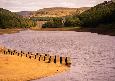 Derwent reservoir with very low water levels