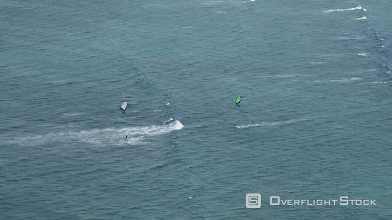 Flying over kiteboarders at Kahului, Maui. Shot inn